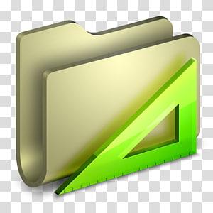 folder dan alat ukur segitiga, sudut kuning hijau, Folder Aplikasi png