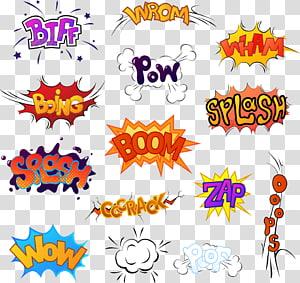 berbagai macam stiker, Komik sound, Ilustrasi Kartun, stiker ledakan bahasa Inggris png