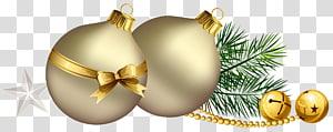 perhiasan emas, Bola Natal dengan Cabang Pinus dan Bintang png