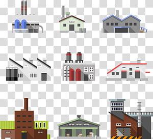 berbagai macam kolase ilustrasi bangunan, Industri Bangunan Pabrik, sembilan jenis bengkel dan pabrik gudang png