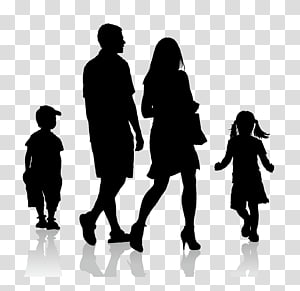 keluarga dengan dua anak, Ilustrasi Dewasa Siluet, siluet keluarga PNG clipart