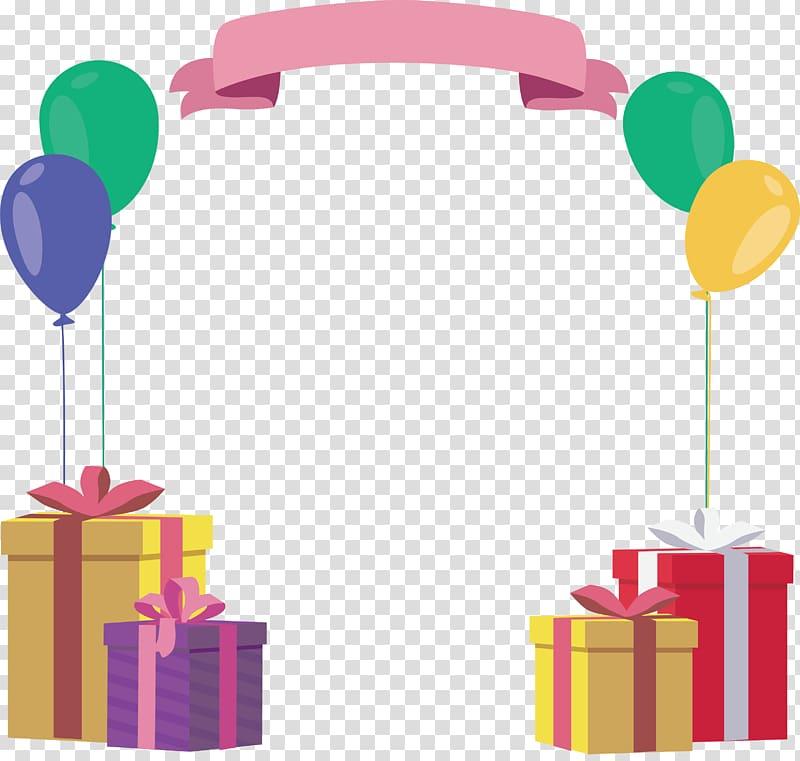 Hadiah Ulang Tahun, Kotak hadiah BALON Bingkai ulang tahun, spanduk merah muda dengan empat hadiah png