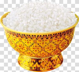 nasi putih dalam mangkuk warna emas, nasi dimasak masakan Vietnam Makanan Memasak, nasi png