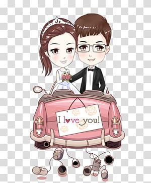 Ilustrasi Pernikahan Mempelai Wanita, Pasangan kartun, pengantin pria dan wanita PNG clipart