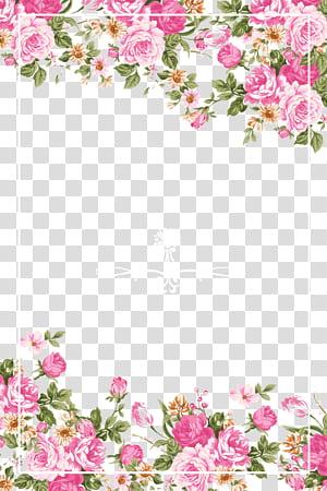 Undangan pernikahan Paper Flower Rose Pink, Pink roses border, bingkai bunga pink, hijau, dan kuning png