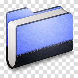 ilustrasi folder biru dan hitam, multimedia ungu biru elektrik, Library Blue Folder png