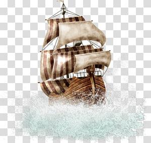 ilustrasi kapal galleon, Kapal Kapal, Kapal Bajak Laut png