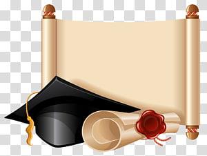 Upacara Wisuda Lapangan akademik, Diploma dan Cap Wisuda, papan mortar dan ilustrasi sertifikat png