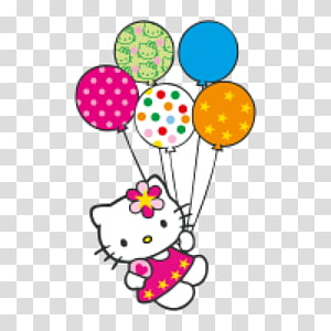 Hello Kitty memegang stiker balon, Kue Ulang Tahun Hello Kitty Kucing, Hello Kitty Dengan Balon png