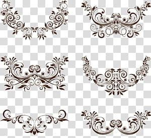 Ornamen Euclidean, Ornamen Bunga, ilustrasi dekorasi dinding floral berwarna coklat PNG clipart