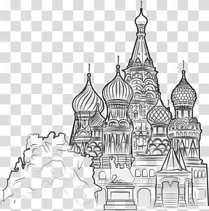 Katedral Saint Basil, Istana Grand Kremlin Katedral Saint Basils Menara Spasskaya Menara Moscow Kremlin, bangunan kota yang dilukis dengan tangan PNG clipart