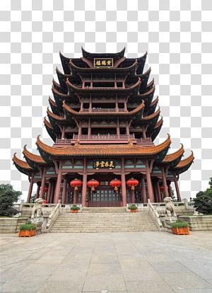 candi Pagoda coklat di siang hari, Menara Yellow Crane Distrik Wuchang, Yellow Tower Tower pemandangan bangunan png
