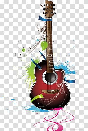Gitar Alat musik, Instrumen Elemen gitar, ilustrasi gitar akustik cutaway merah, coklat, dan hitam png