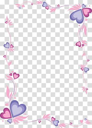 Mencetak dan menulis kertas Letter, bingkai berbentuk hati merah muda, bingkai hati merah dan ungu png