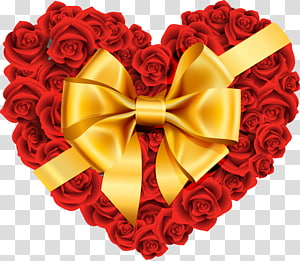 Heart Rose, Large Rose Heart dengan Gold Bow, ilustrasi mawar merah berbentuk hati png
