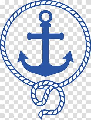 logo jangkar biru, Sailor Boat Anchor Party, bahan bahari png