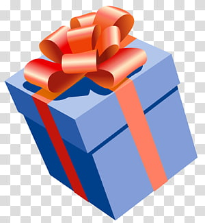 kotak hadiah biru dengan pita merah, Hadiah, Hadiah Biru dengan Red Bow png