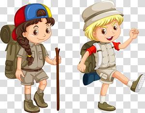 wanita dan anak laki-laki, Ilustrasi Camping, kartun anak-anak lucu petualangan kreatif png