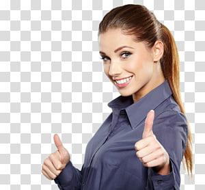 wanita menunjukkan gerakan tangan jempol, Wanita Manajemen Bisnis OK, wanita yang berpikir png