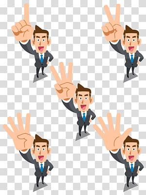 Ilustrasi Kartun Pengusaha, materi pebisnis kerah putih, lima pria memperlihatkan kolase tangan PNG clipart
