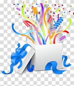 kotak putih dengan ilustrasi pita biru, Pita Hadiah, Pita hadiah png