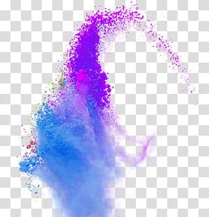 Warna, Warna bubuk asap percikan, closeup ledakan bubuk ungu png