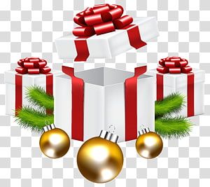 ilustrasi kotak hadiah putih-dan-merah, hadiah Natal Santa Claus, Hadiah Natal png