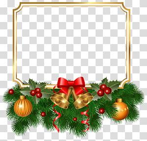 Ilustrasi bingkai Natal, hiasan pohon Natal, Cemara Natal, Perbatasan Emas Natal PNG clipart