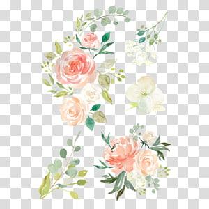 ilustrasi bunga merah muda, hijau, dan putih, Bunga Cat Air Tempat tidur bayi Lukisan cat air Desain bunga, bunga cat air png
