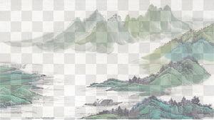 ilustrasi gunung, lukisan Cuci Tinta Lukisan pemandangan Shan shui, diagram Tinta lukisan gunung dan sungai png