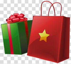 ilustrasi hadiah merah dan hijau, Gift Santa Claus, Christmas Gift Box and Bag png