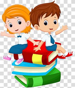 cowok dan cewek duduk di ilustrasi buku, Kartun Pelajar, anak-anak PNG clipart
