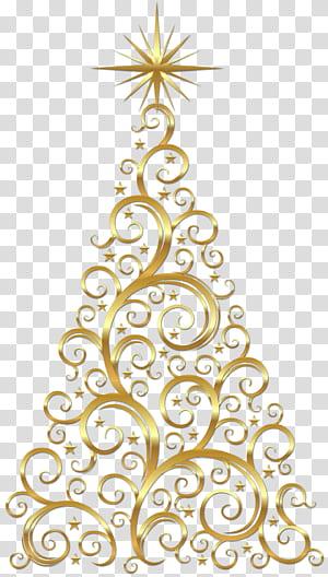 Pohon Natal Deco Emas, pohon Natal berwarna emas PNG clipart
