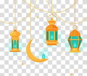 Chandelier arsitektur Islam, chandelier gaya Islam, tiga ilustrasi lentera gantung oranye PNG clipart