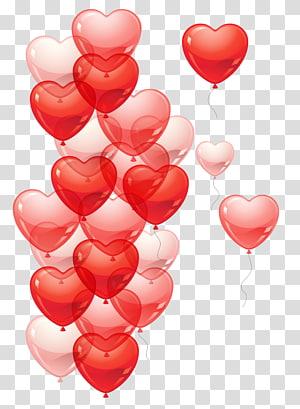 balon jantung merah dan pink, Balon, Balon Jantung png