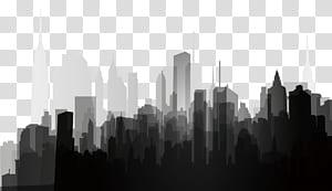 Silhouette Splash, Siluet kota hitam dan putih, ilustrasi bangunan tinggi PNG clipart