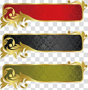 tiga ilustrasi berbagai macam warna, Pita Spanduk Emas, bahan dekoratif png