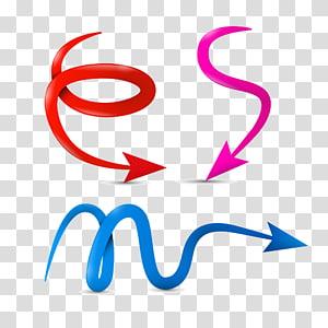 panah ekor merah, merah muda, dan biru, panah melengkung png