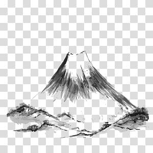lukisan abstrak abu-abu dan hitam, Ilustrasi Menggambar Gunung Fuji, Tinta Gunung png