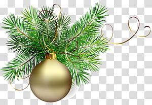 perhiasan emas dengan ilustrasi perada hijau, ornamen Natal Santa Claus, Bola Natal Emas dengan Pine png