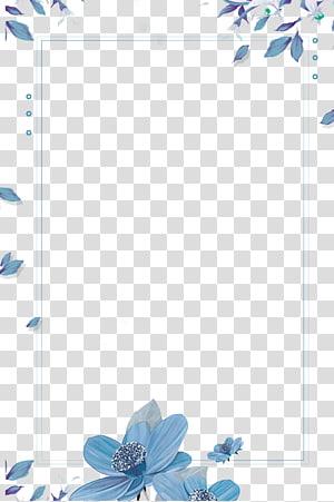 Biru, Garis batas biru jelas yang dilukis dengan tangan, bingkai desain digital bunga biru png