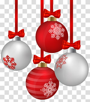 ilustrasi perhiasan abu-abu dan merah, Rudolph Christmas ornament Christmas decoration, White and Red Hanging Christmas Ornaments png