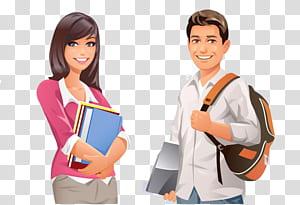 Student College University, mahasiswa kartun pria dan wanita, gambar pria dan wanita png