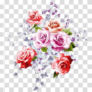 Ilustrasi Bunga, ilustrasi sampul HD bunga cat air, ilustrasi mawar merah muda, merah, dan coklat png