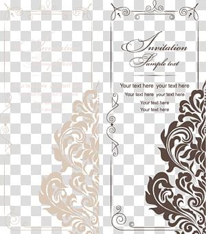 Undangan pernikahan, pola undangan pernikahan gaya Eropa dan Amerika, tangkapan layar undangan coklat dan krem png