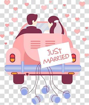 pasangan mengendarai mobil pengantin dengan papan petunjuk menikah, Pernikahan, Mobil pengantin PNG clipart