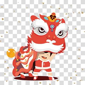 tarian naga, tarian singa Ilustrasi Tahun Baru Cina Tangyuan Lantern Festival, Lion boy png