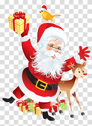 Santa Claus dengan ilustrasi rusa dan anak ayam, Kertas pembungkus kado Decoupage Label, Santa and Rudolph Deco png