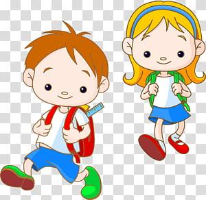 anak laki-laki dan perempuan membawa ilustrasi ransel, Kartun Anak, anak PNG clipart