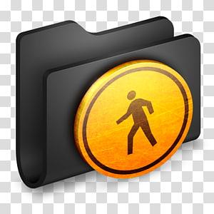 rambu jalan penyeberangan pejalan kaki, font kuning simbol, Public Black Folder png